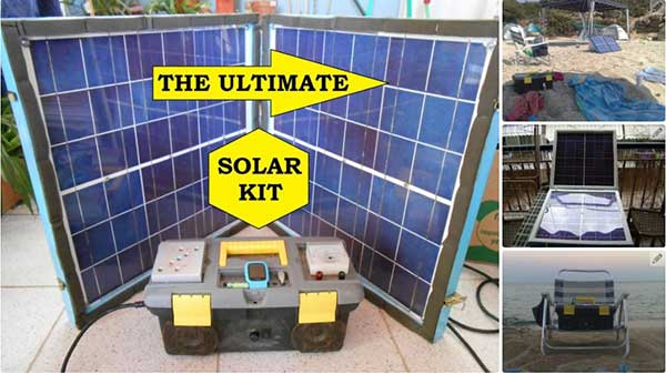 ALL IN ONE KIT POWERED FROM A FOLDING MOBILE SOLAR PANEL