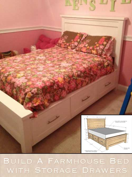 build a farmhouse bed with storage drawers. Black Bedroom Furniture Sets. Home Design Ideas