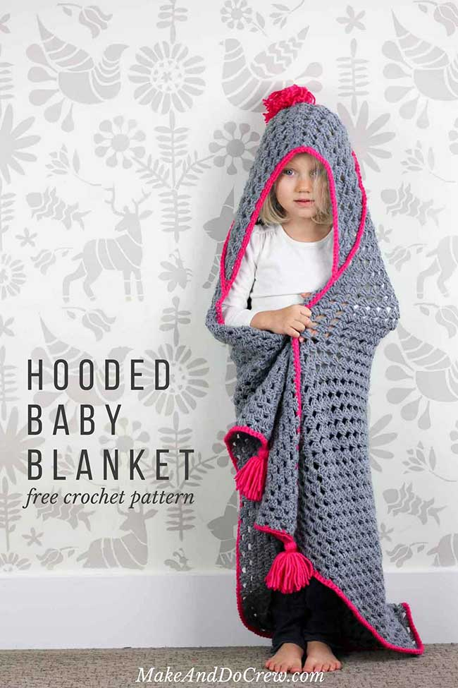 Crochet A Hooded Blanket For Kids