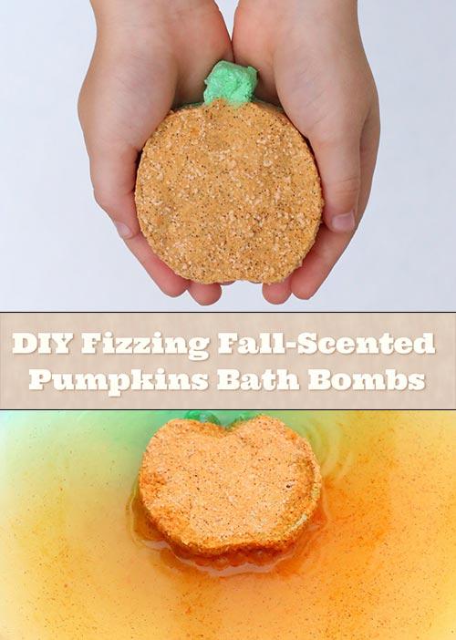 DIY Fizzing Fall-Scented Pumpkins Bath Bombs
