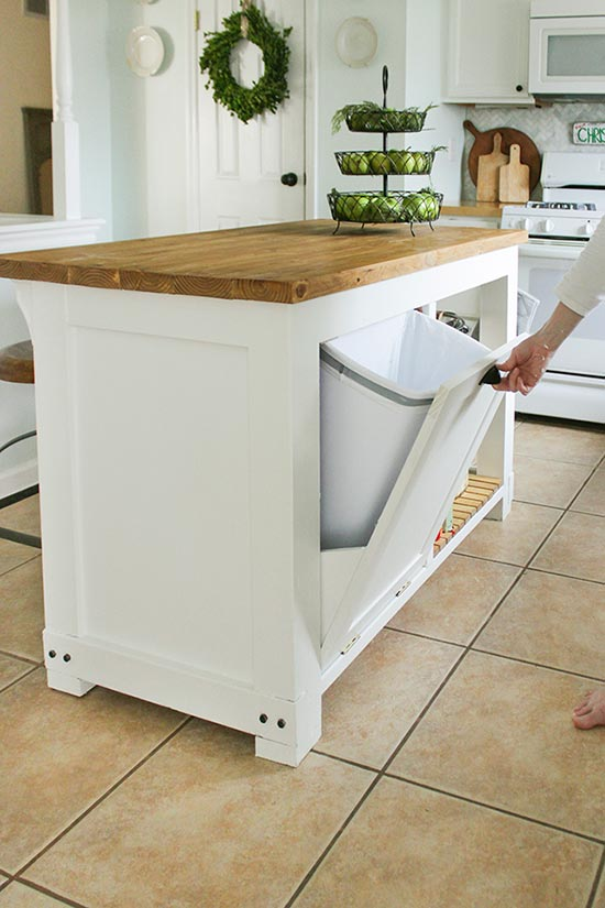 DIY Kitchen Island with Built in Trash Storage