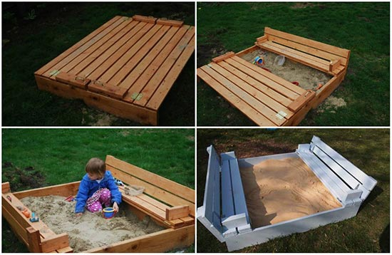 DIY Sandbox with Fold-Out Seats