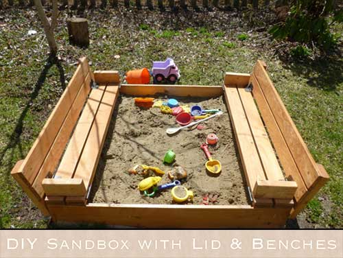Diy Sandbox With Lid Amp Benches