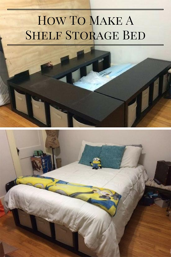 Creative Under Bed Storage Idea – DIY Shelf Bed Storage