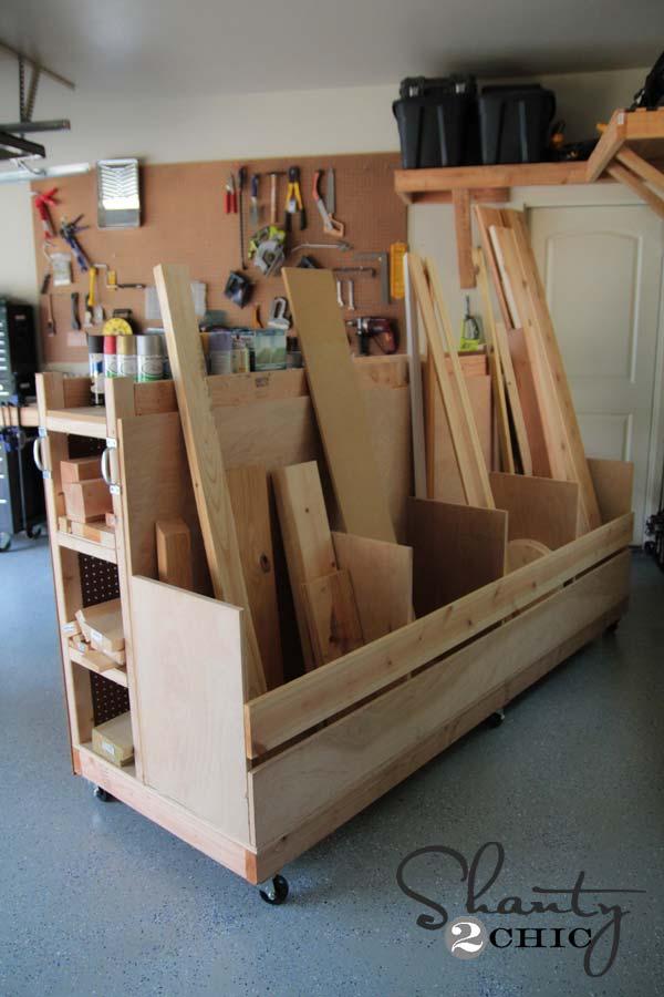 Garage Organization DIY Lumber Cart