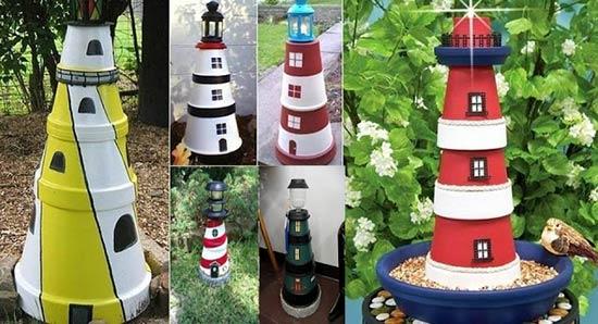 Garden Decorations: DIY Clay Pot Lighthouse