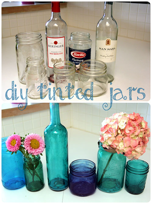 Glass crafts how to tint bottles jars for Crafts using glass jars