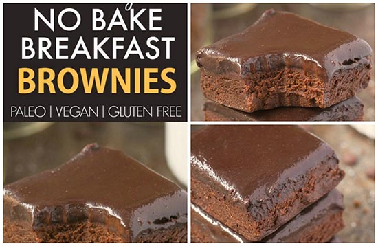 Healthy No Bake Breakfast Brownies