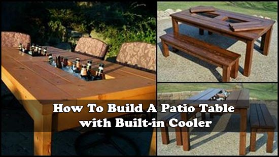 how to build a patio table with built in cooler rh livinggreenandfrugally com outdoor patio table with built in cooler wooden patio table with built in cooler