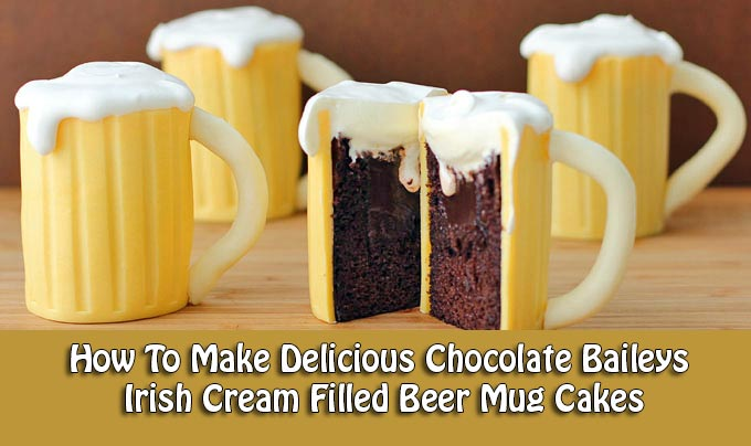 How To Make Delicious Chocolate Baileys Irish Cream Filled Beer Mug Cakes