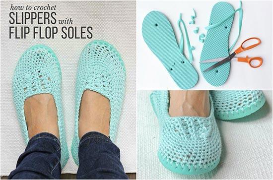 a9ae244d2a0b Lightweight Crochet Slippers Pattern with Flip Flop Soles