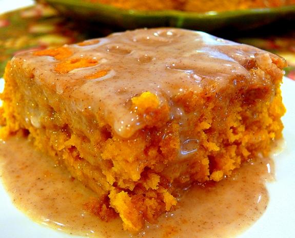 Two-Ingredient Pumpkin Cake with Apple Cider Glaze