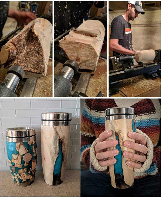 Tumbler Made From a Tree Root